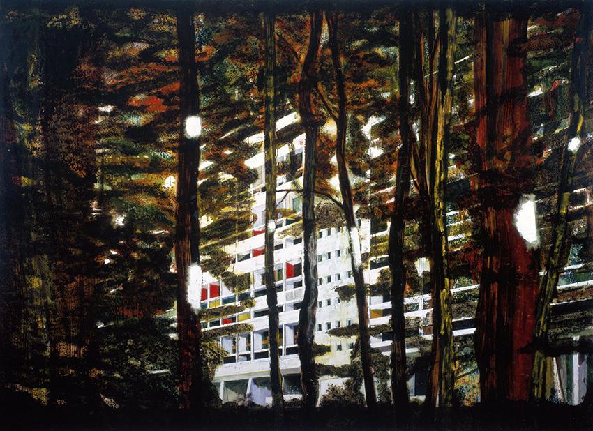 Peter Doig – Concrete Cabin II; 1992, Öl auf Leinwand; 200 x 275 cm; Courtesy Victoria und Warren Miro; © Peter Doig. All Rights Reserved / 2014, ProLitteris, Zürich; Foto: Jochen Littkemann