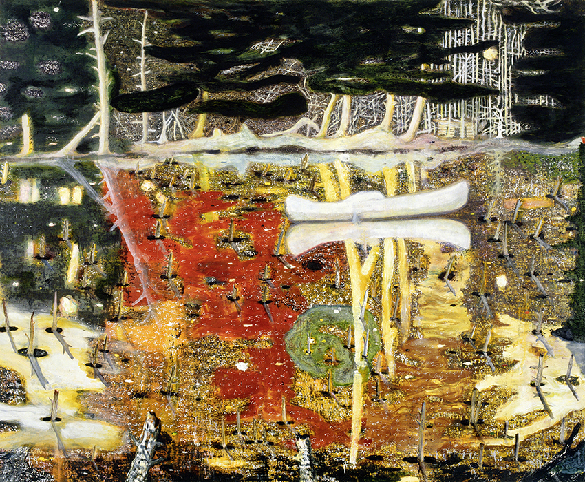Peter Doig – Swamped; 1990, Öl auf Leinwand; 197 x 241 cm; The Monsoon Art Collection  © Peter Doig. All Rights Reserved / 2014, ProLitteris, Zürich