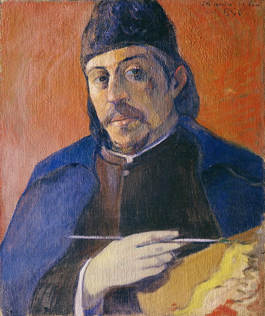 Paul Gauguin, Autoportrait à la palette, ca. 1893/94; Selbstbildnis mit Palette; Öl auf Leinwand, 92 x 73 cm  Privatsammlung