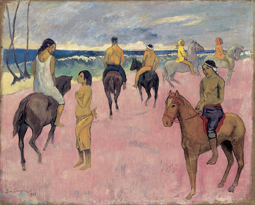 Paul Gauguin, Cavaliers sur la plage (II), 1902; Reiter am Strand (II); Öl auf Leinwand, 73,8 x 92,4 cm; Privatsammlung