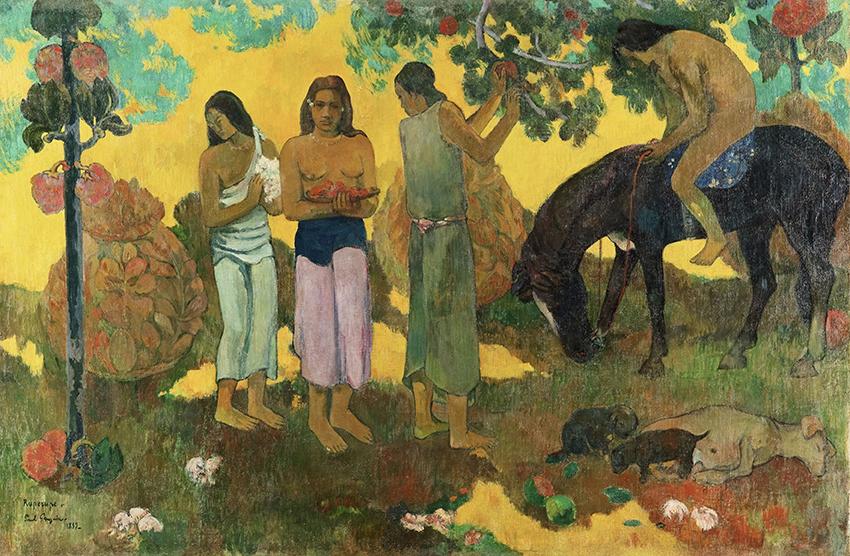 Paul Gauguin, Rupe Rupe, 1899; La cueillette des fruits, Obsternte; Öl auf Leinwand, 128 x 190 cm; Staatliches Museum für Bildende Künste A.S. Puschkin, Moskau; Foto: © Staatliches Museum für Bildenden Künste A.S. Puschkin, Moskau
