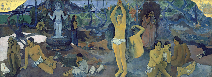 Paul Gauguin, D'où venons-nous? Que sommes-nous? Où allons-nous?, 1897/98; Woher kommen wir? Was sind wir? Wohin gehen wir?; Öl auf Leinwand, 139,1 x 374,6 cm; Museum of Fine Arts Boston, Tompkins Collection, Arthur Gordon Tompkins Fund; Foto : © 2015 Museum of Fine Arts, Boston