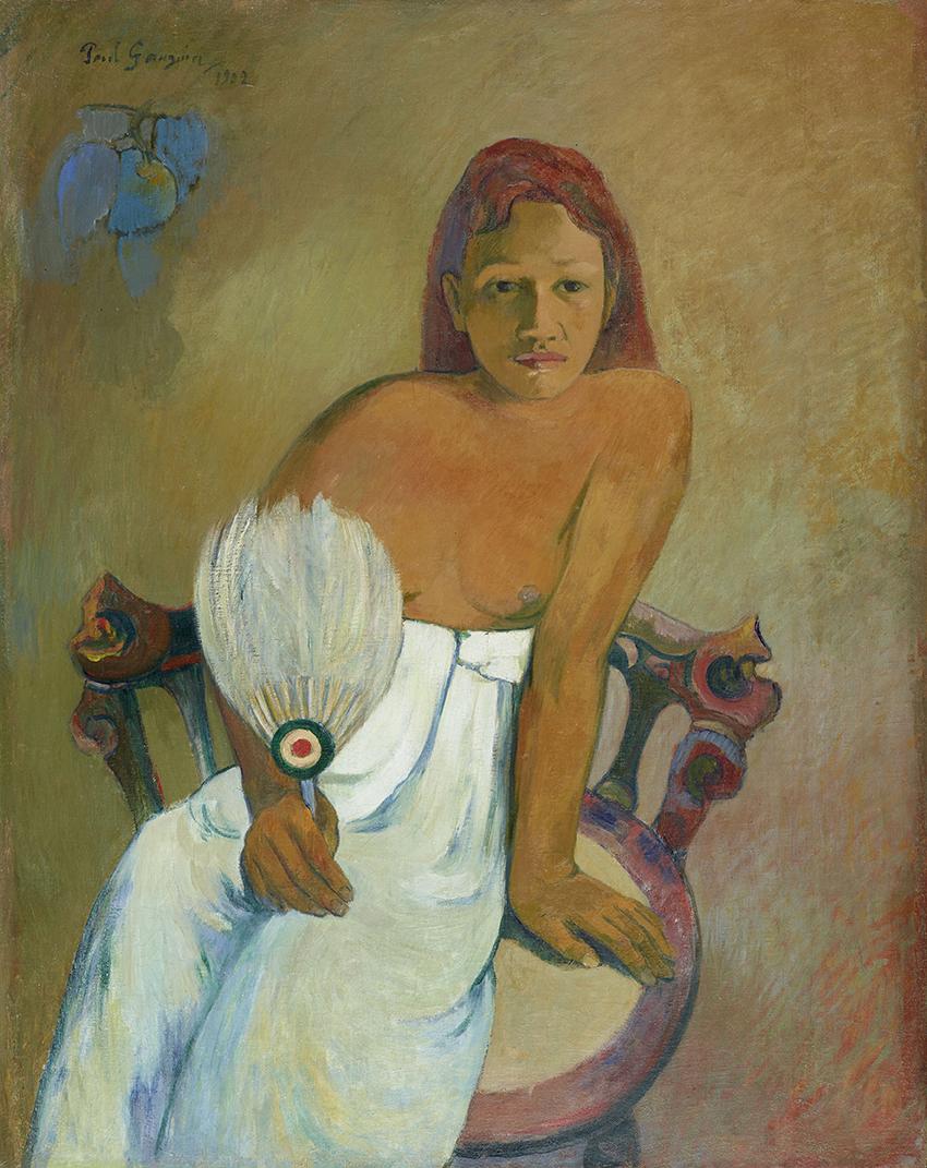 Paul Gauguin, Femme à l'éventail, 1902; Frau mit Fächer; Öl auf Leinwand, 91,9 x 72,9 cm; Museum Folkwang, Essen; Foto: © Museum  Folkwang, Essen