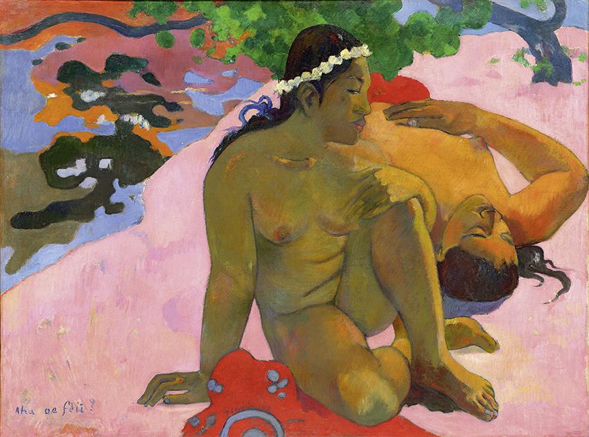 Paul Gauguin, Aha oe feii?, 1892; Eh quoi! tu es jalouse? Wie! Du bist eifersüchtig?; Öl auf Leinwand, 66 x 89 cm; Staatliches Museum für Bildende Künste A.S. Puschkin, Moskau; Foto: © Staatliches Museum für Bildenden Künste A.S. Puschkin, Moskau